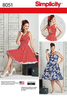 These Rockabilly dresses with full skirts in misses and plus sizes feature sweetheart neckline with thick straps that cross in the back and round neckline with partially opening at back. 8051
