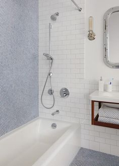 Boy Bathroom with Blue Penny Shower wall Tiles - Cottage - Bathroom