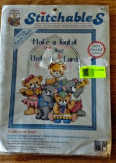 Dimensions 72127 #CountedCrossStitch Kit Stitchables Teddy Bear Band 8x10 Inch #DimensionsStitchables Picture