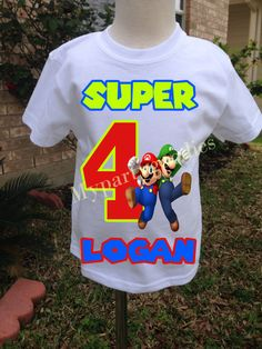 Super Mario Bros.Birthday shirt, Boy Mario Shirt, Luigi and Mario shirt, Mario Bros birthday shirt. by Mypartygoodies on Etsy