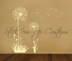 Cute Dandelion Wall Decal Sticker Graphic Art Removable. Great for Birthday Gift or Christmas Present