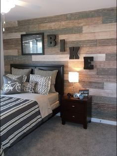 Faux plank wall I recently painted in Richmond, VA for Terri Kemp Interiors. The wall was taped and each faux plank was painted separately for a varied look in this teen boys room. It took some time but I love the way it turned out. Boys Room Design, Bedroom Decor, Room Makeover, Teenager Bedroom Boy, Home, Bedroom Design, Boys Bedrooms, Boy Room, Teenage Bedroom