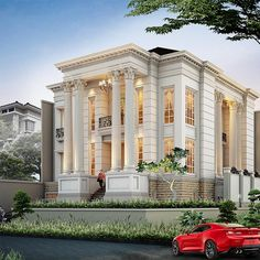 Rumah Klasik - Showcase Model Luxury Homes - Rumah Klasik Classic House Exterior, Modern Exterior House Designs, Classic House Design, Modern House Design, Exterior Design, Bungalow House Design, House Front Design, Neoclassical Architecture, Modern Architecture