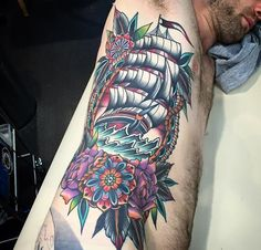 American Traditional, Neo Traditional, Traditional Ship Tattoo, Ship Tattoos, Pirate Tattoo, Tattoo Ideas, Tattoo Designs, Art Reference, Watercolor Tattoo