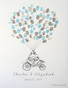 Cinderella & Balloons Finger Print Guest Book - could also put star shapes throughout and have them sign inside