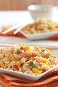 Shrimp Fried Rice - Can't wait to try this recipe... In a large skillet, heat oils over medium-high heat. Add bell pepper, and cook, stirring frequently, for 5 minutes. Add peas, and cook, stirring frequently, for about 5 minutes or until thawed.