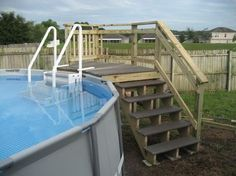 small deck ideas for mobile homes.Just because you have a tiny backyard doesn't suggest you can't have a stylish deck. Learn the building demands and also Above Ground Pool Stairs, Above Ground Pool Landscaping, Backyard Pool Landscaping, Landscaping Ideas, Patio Ideas, Pool Deck Plans, Living Pool, Swimming Pool Decks, Pool Ladder