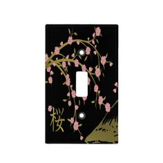 Pink #Sakura Gold Black #Japanese Screen by Lee Hiller #CherryBlossoms Mt Fuji Cherry Blossoms