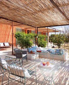 pergola markise bambus Überdachte Terrasse modern holz | Garten ...