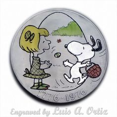 Easter Beagle & Patty S583 Ike Hobo Nickel Engraved & Colored by Luis A Ortiz