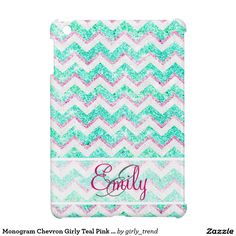 Monogram chevron girly teal pink glitter iPad mini case. A cute iPad mini case for girls.