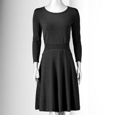 SIMPLY VERA VERA WANG Black 3/4 Sleeve Fit N Flare Knit Dress Size Petite S NWT