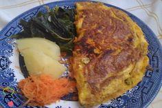 Omolete de legumes e bacon