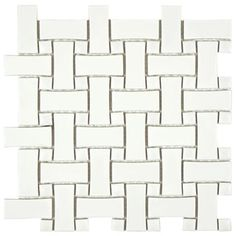 SomerTile 10.5-inch Victorian Basket Weave White Porcelain Mosaic Tile (Pack of 10)