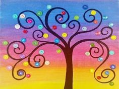 Rainbow Button Tree Acrylic Painting Lesson by Angela Anderson | Free on YouTube Summer Art Camp for Kids and Beginners | Easy Family Project | Simple Mommy & Me Paint Party | DIY Button Art | How to paint whimsical trees