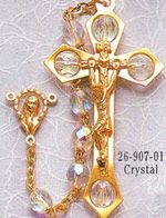 Crystal  7mm Aurora Borealis Bead Loc-Link Gold-plated Rosary with Deluxe Crucifix.