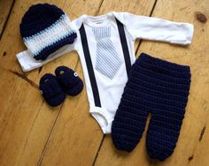 Newborn Boy Coming Home Outfit - Seersucker Tie w/ Matching Suspenders - Matching Crochet Hat Pant and Shoe in Navy, White and Light Blue by AntiquatedModCrochet on Etsy https://www.etsy.com/listing/222331490/newborn-boy-coming-home-outfit