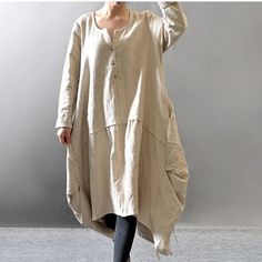 Women cotton linen loose fitting loose maxi dress - Buykud