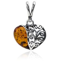 Sterling Silver Amber Heart Pendant >>> You can find more details by visiting the image link.