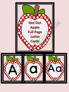 Red Dot Apple Full Page Alphabet Letter Posters from My Kinder Garden on TeachersNotebook.com -  (159 pages)  - Here is a set of large full page red dot apple letters cards that can be used at the beginning of the school year or anytime.