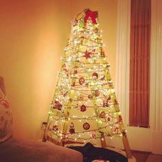 Alternative Christmas tree. Repurposed Mardi Gras ladder.
