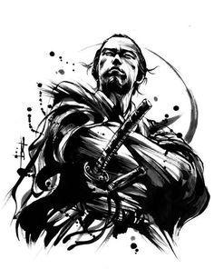 japanische krieger, schwarz weiße zeichnung, mann, katana, samuraischwert