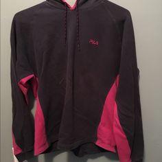 Fila sweatshirt Fila sweatshirt pink and dark gray. Size XL. Worn condition. Fila Tops Sweatshirts & Hoodies
