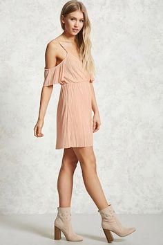 Pleated Open-Shoulder Dress