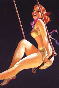 Vintage Red Trapeze Swing
