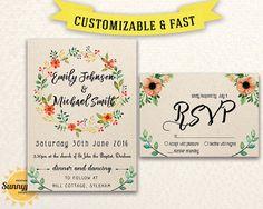 Printable Wedding Invitation Template Wedding By Sunnyprint