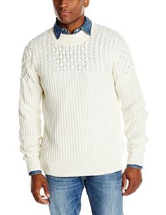 French Connection Men's Huntsman Solid Cable-Knit Sweater           $ 138.00 Pullover Sweaters Product Features Mixed-knit pullover sweater featuring crew neckline and long sleeves Ribbing at collar, cuffs, and hem Pullover Sweaters Product Description Ribbed crew neck sweater  http://www.freesweaters.com/french-connection-mens-huntsman-solid-cable-knit-sweater/