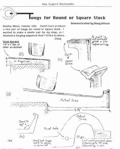 Tongs for round or square stock.