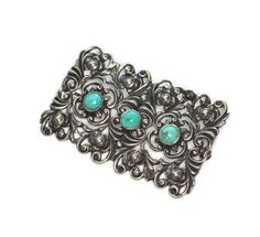 835 Silver Open Work Repousse Brooch Turquoise Cabochons Art Deco Era Signed Vintage