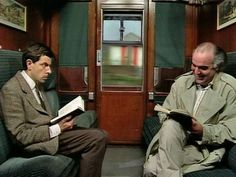 Mr Bean takes a train ride. He tries to block out the sound of his fellow passenger's loud laugh so he can read his book in peace, and ends up losing his ticket. From 'Mr Bean Rides Again' Mr. Bean, Comedy Skits, Funny Comedy, Ben Elton, Loud Laugh, Dry Sense Of Humor, Funny Video Clips, British Comedy, Teenage Years
