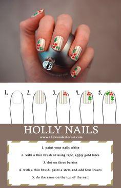 Holiday Nail Art: Holly and Pinstripes