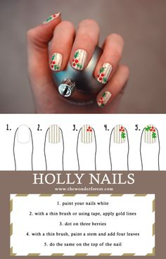 Holiday Nail Art: Holly and Pinstripes