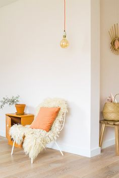 apricot colored throw pillow. / sfgirlbybay