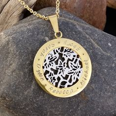 Hand Stamped Mother's Necklace / Name Necklace - Flowers gold on silver by SewTree www.sewtree.com