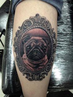 Portrait Tattoos Dog Pug Puppy Tattoo - you need this Morris Bild Tattoos, Dog Tattoos, Animal Tattoos, Body Art Tattoos, Portrait Tattoos, Mops Tattoo, Tattoo You, Pugs, Pug Puppies