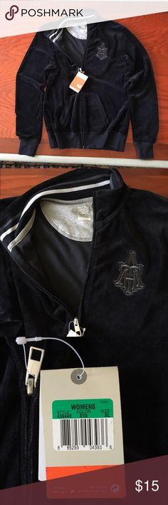 Nike athletic jacket - velour XL Nike athletic jacket for women. Black velour. Has pockets in front. Nike Jackets & Coats