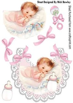 Sweet baby Girl with her bottle on a lace bib on Craftsuprint - Add To Basket!