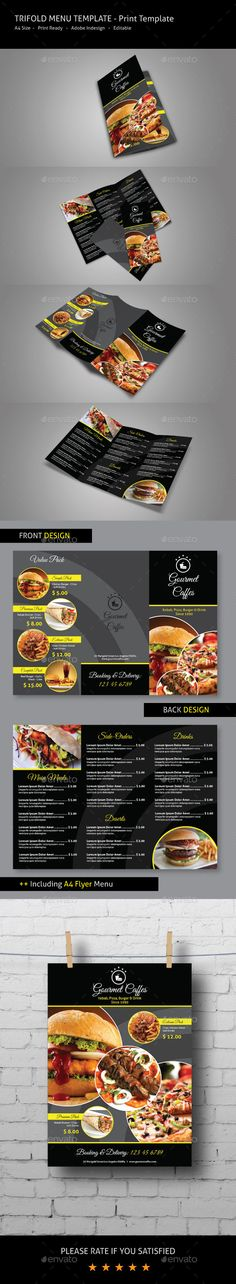 Trifold Food Menu — InDesign INDD #menu #black • Available here → https://graphicriver.net/item/trifold-food-menu/9662962?ref=pxcr