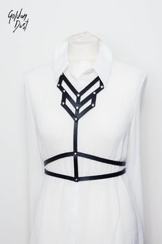 Leather harness on the body. Outstanding and charismatic accessory, making each of us more expressive, unique and sexy! It works perfectly in many stylizations. We wear it on bare skin, on top, blouse, dress, shirt.. It emphasizes the shape of waist and hips. Everything is hand-made from genuine leather.