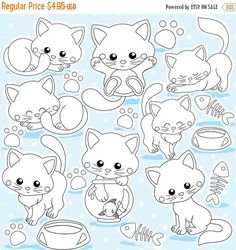80% OFF SALE Cat and kittens digital stamp by Prettygrafikdesign