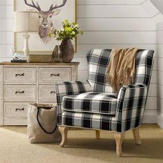 Cozy Black and White Farmhouse Living Room Accent Chair Dorel Living Middlebury Checkered Pattern Accent Chair, Black & White Checkered Afflink New Living Room, Living Room Chairs, Living Room Furniture, Home Furniture, Living Spaces, Cheap Furniture, Rustic Furniture, Furniture Outlet, Outdoor Furniture