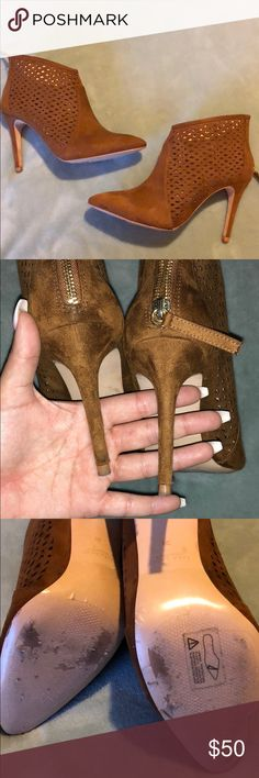"""ZARA sure booties ! Super cute ZARA basic collection congnac booties. Suede. Size on bootie days 38"""". I am a size 7.5 and these fit perfectly! In perfect conditions only worn once! Zara Shoes Ankle Boots & Booties"""