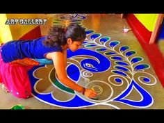 Diwali Special full floor Big Peacock Rangoli designs by Art Gallery