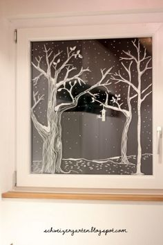 Recently, shortly after midnight, I& on Éva& beautiful winter window . Christmas Love, Winter Christmas, Christmas Crafts, Xmas, Christmas Window Decorations, Holiday Decor, Window Art, Yule, Decorating Your Home
