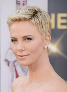 best short haircut for summer: charlize theron pixie cut with mini