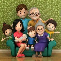 Girl, boy, grandparents, baby